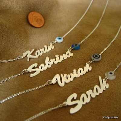 1 Silber Namenskette mit Glücksauge, Nazar, Buchstaben, Länge & Farbe wählbar