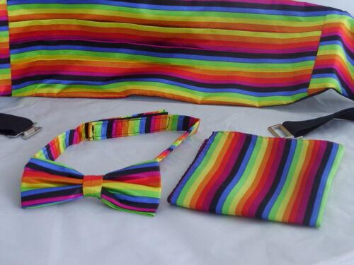 Rainbow-Multi Pre-tied Bow Tie Cummerbund /& Hankie Set/>P/&P 2UK/>1st Class Hrz