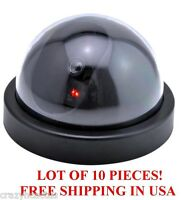Lot Of 10 Dummy Realistic Dome Security Cctv Surveillance Camera W/blinking Led