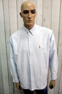 RALPH-LAUREN-Camicia-Taglia-2XL-Celeste-Cotone-Uomo-Shirt-Casual-Manica-Lunga