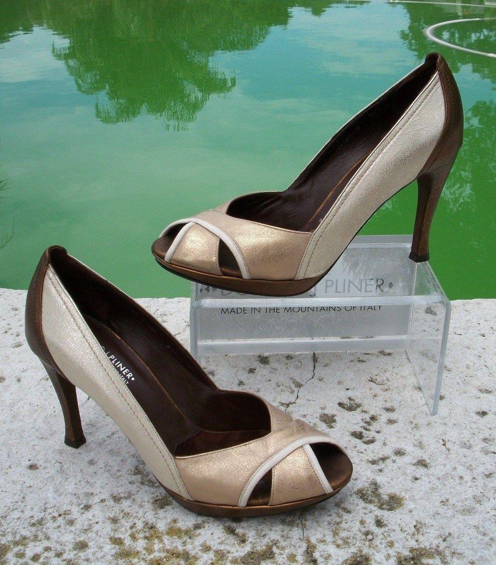 Donald Pliner Couture Metallic Patent Shoe NIB Sleek Peep Toe Pump Tricolor  315