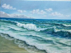 Art12-034-16-034-waves-oil-painting-Seascape-ocean-landscape-beach-art-gift