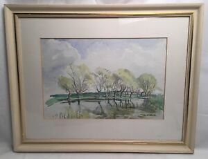 Vintage-Watercolour-Country-Scene-Trees-By-Lake-A-M-White-Mounted-And-Framed