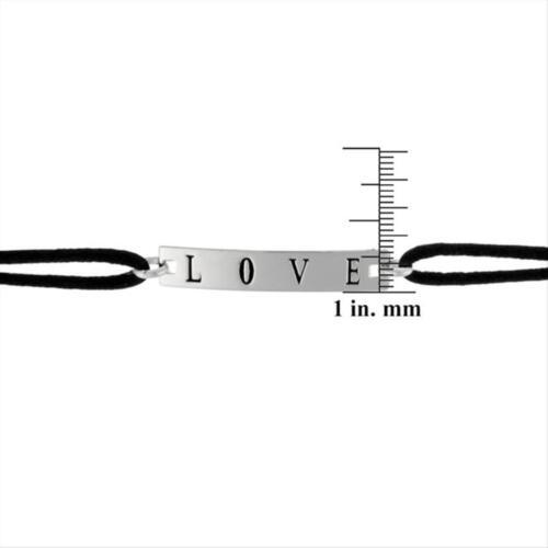Sterling Silver /'Love/' /& Black Silk Bracelet