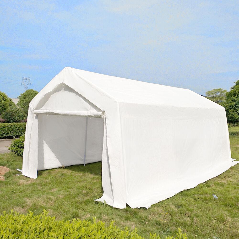 3m x 6m White Heavy Portable Garage Tent Shelter Carport Canopy ...