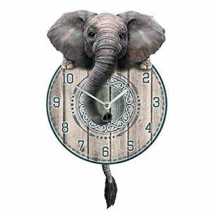 26cm-Trunkin-039-Tickin-039-Elephant-MDF-Pendulum-Clock