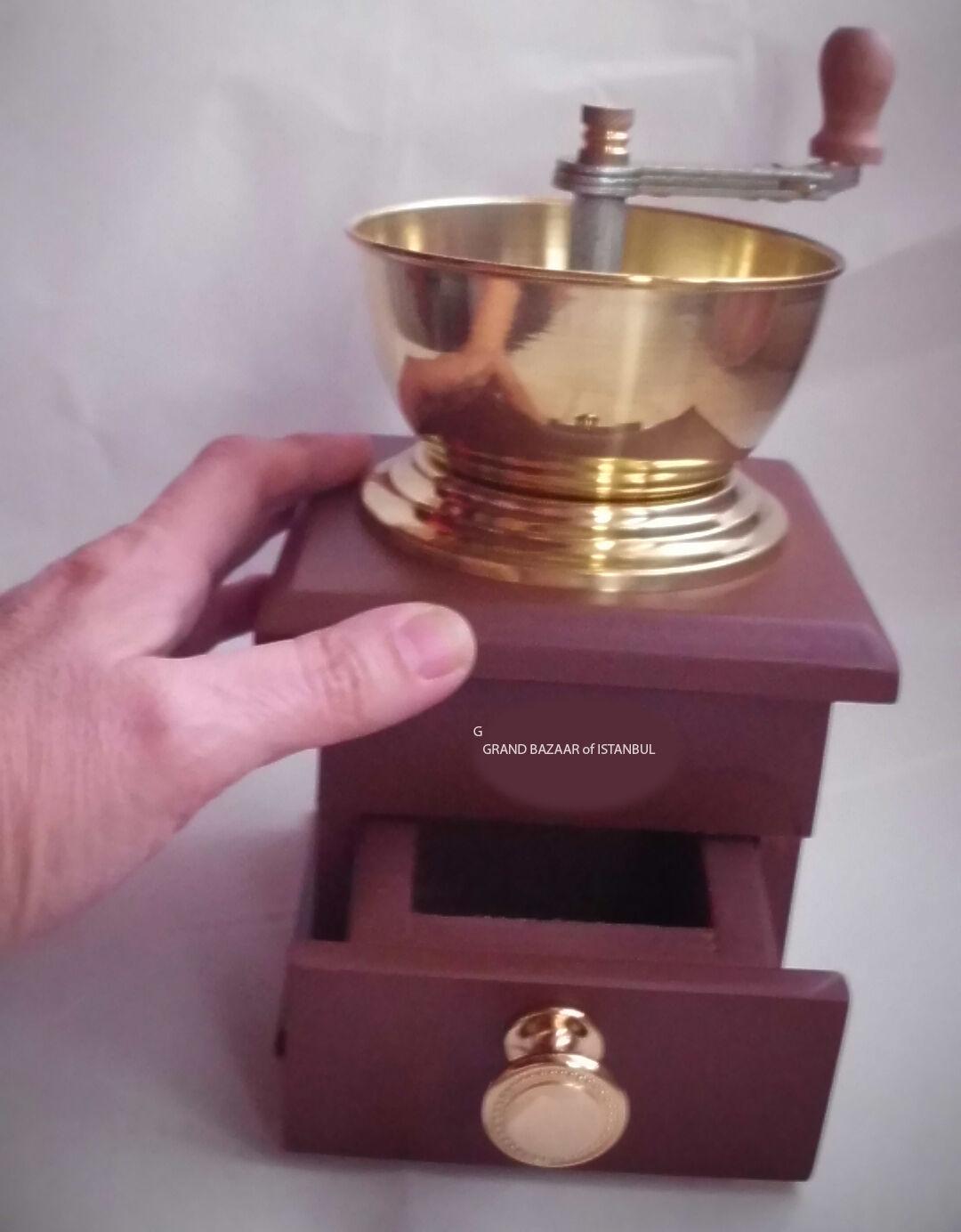 Crank grain de café moulin turque, rémouleur, Logement Bois, bol de bronze, kahve degirmeni