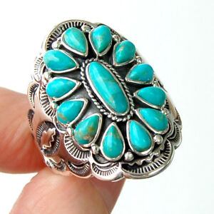 R029-Splendide-Grande-Bague-Style-Amerindien-Argent-Massif-925-Turquoise-t57