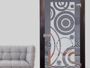 glasdekor glast r aufkleber fensterfolie f r wohnzimmer retro kreise folie ebay. Black Bedroom Furniture Sets. Home Design Ideas