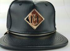 Hater Snapback Hat Interchangeable Lashtab Black Leather Brim Gold Zipper Rare