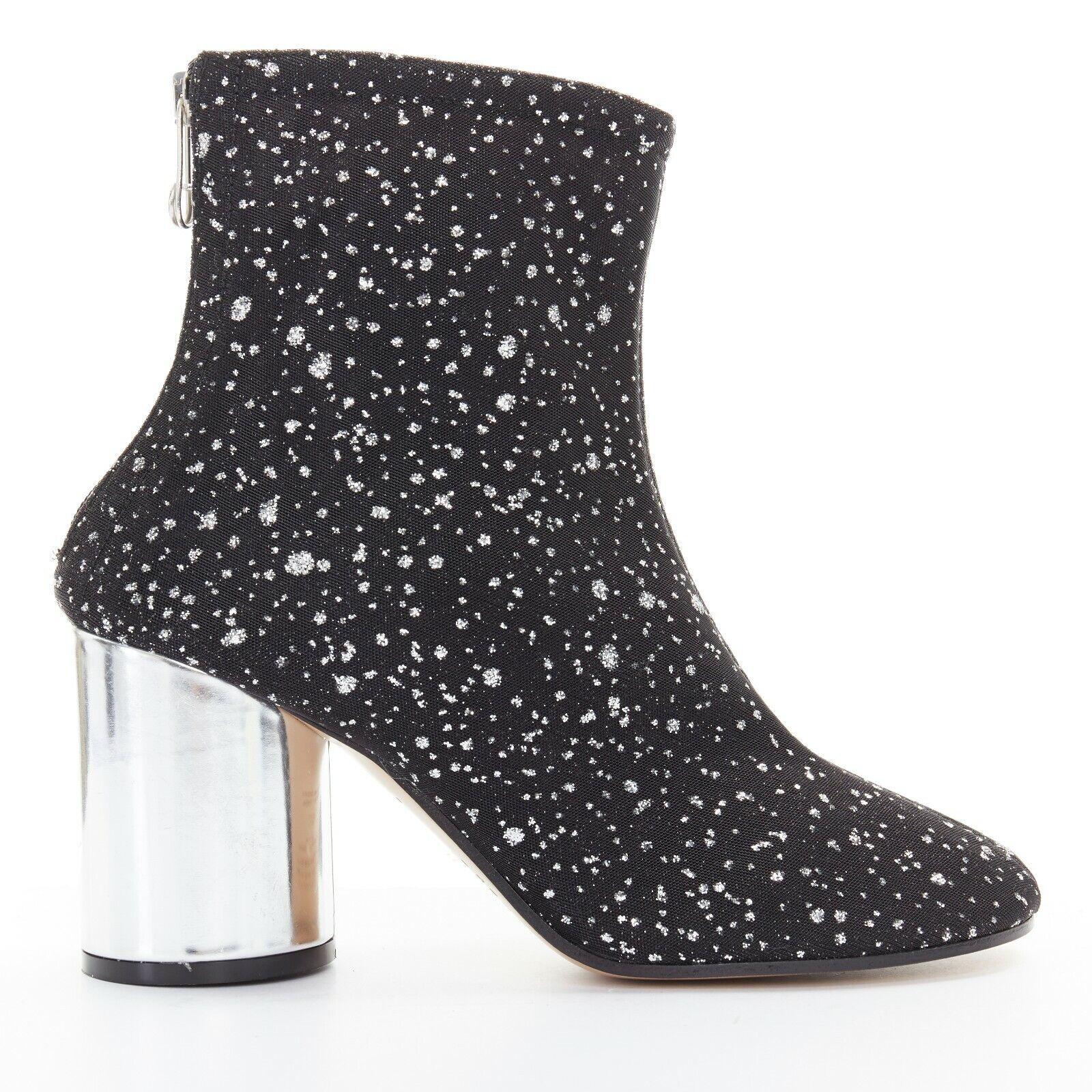 Nuevo Maison Margiela Malla Negra moteado Glitter plata grueso talón botín EU39