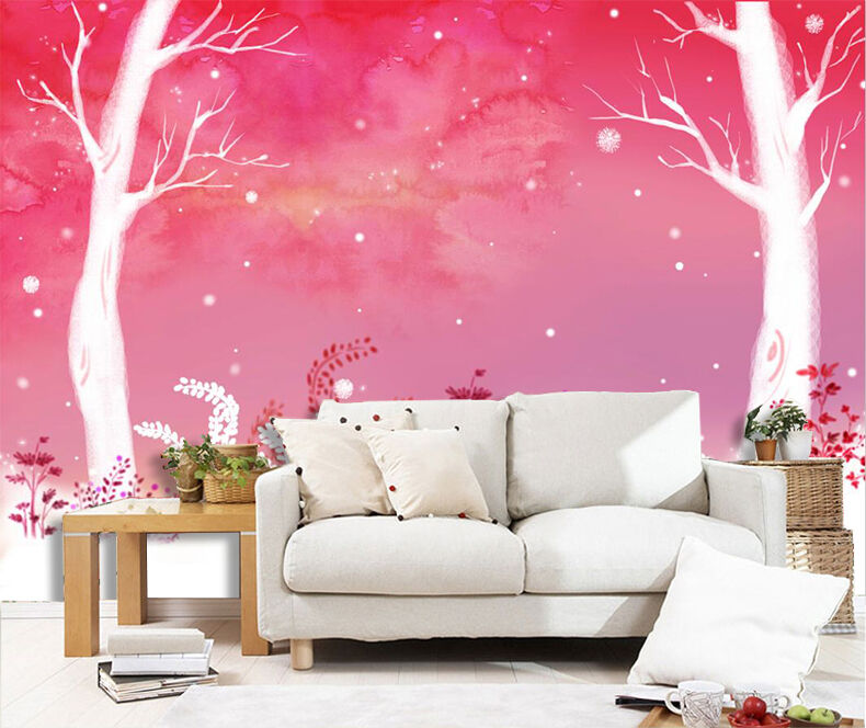 3D Schöne weiße Bäume 24 Fototapeten Wandbild Fototapete BildTapete Familie