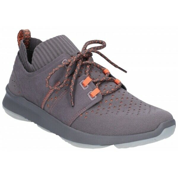 Hush Puppies WORLD Mens Casual Lace Up Pull On Textile Fashion Trainer Dark grau