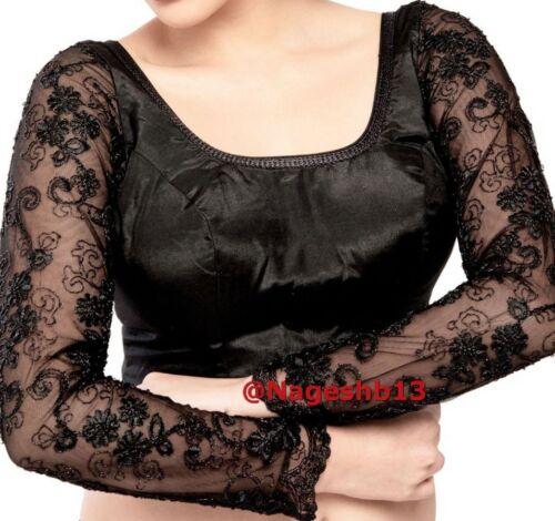 Readymade Saree Blouse Designer Sari Blouse,Black Long Sleeves Blouse,Choli,Top