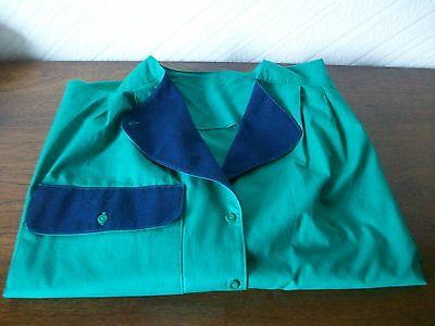 """Affidabile Vintage Verde Scuro/navy Camicia A Maniche Lunghe Cotone/top, Taglia 16, U/braccio 44"""", M&s-mostra Il Titolo Originale Garanzia Al 100%"""
