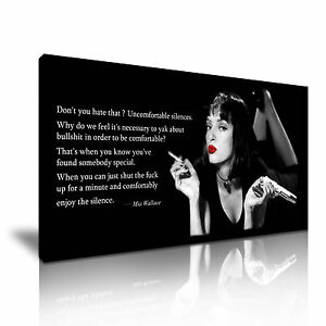 Details about \' Pulp Fiction Mia Wallace & Quotes \' Cartoon Canvas Wall Deco
