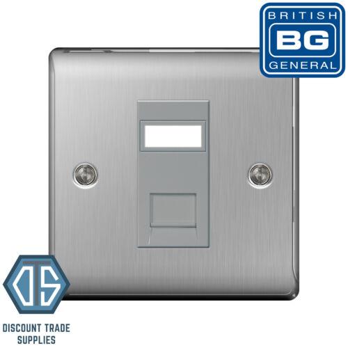 BG Nexus Brushed Steel NBSRJ451 Satin Chome 1 Gang RJ45 Cat5e Data Socket Outlet