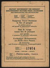 Vorläufiger Reiseausweis Staatenlose 1947 Temporary Travel Document f. stateless