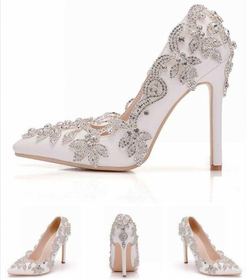 Nouvelle robe de mariage 11 cm talons hauts compensés à bout pointu à Enfiler Fête & Mariée Escarpins US5-9.5