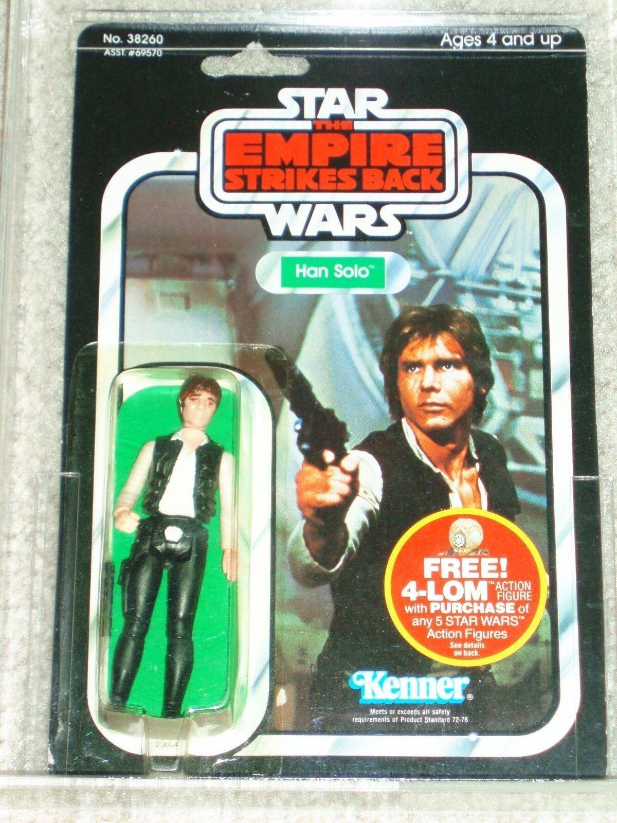 Vintage Star Wars 1982 Kenner AFA 75 HAN SOLO Large Head ESB 47 BACK CARD MOC