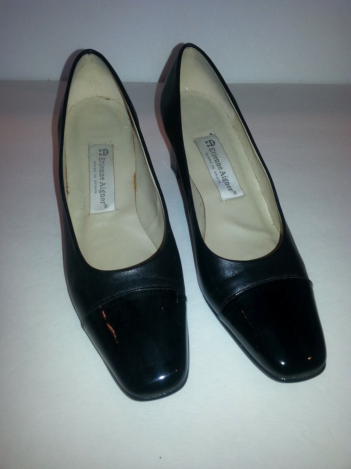 ETIENNE LEATHER AIGNER  LADIES BLACK LEATHER ETIENNE WITH PATENT TOE HEELS SHOES SIZE 8.5 M 7bfdf6