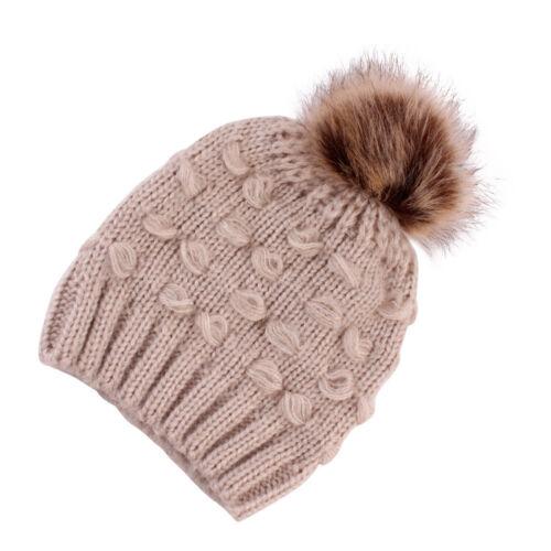 Enfant Fille /& Garçon bébé infantile hiver solide Chaud Crochet Tricot Bonnet Beanie Cap