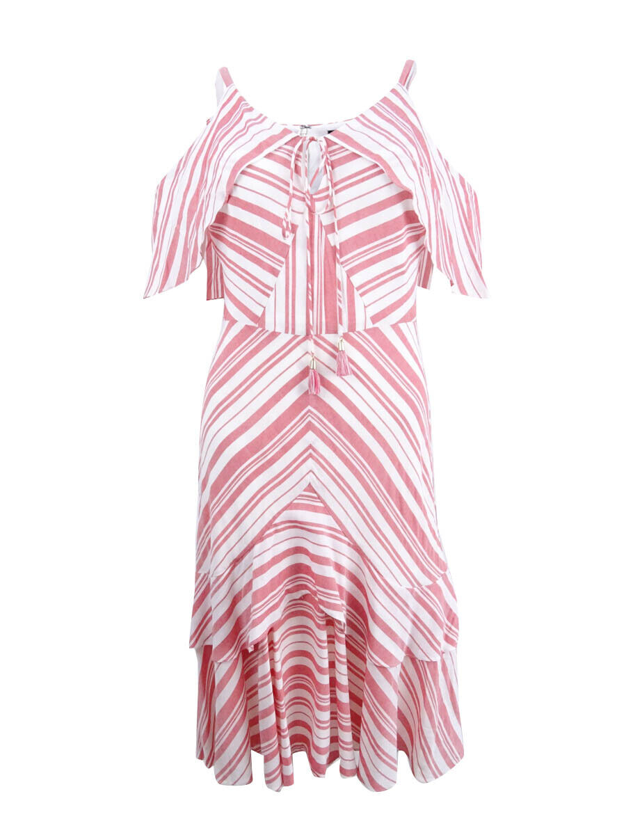 Sangria Women's Striped Cold-Shoulder Ruffle Dress