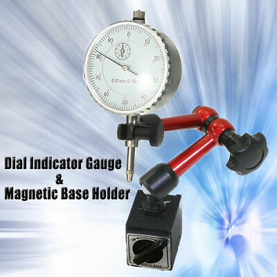 0-10mm Dial Test Indicator Gauge Universal Rotary Magnetic Stand Base Holder