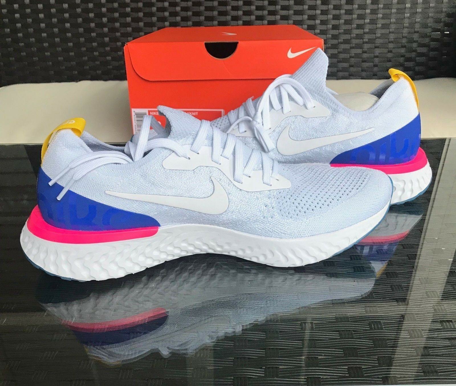 Nike Epic Red React Flyknit White Blue Red Epic AQ0067-101 DS Limited cbafc6