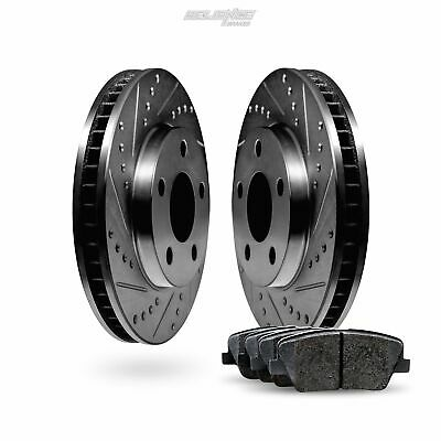 FRONT KIT Ceramic Pads F2473 Black Hart *DRILLED /& SLOTTED* Disc Brake Rotors