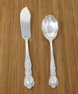 1847 Rogers Bros HERITAGE Butter Knife and Jelly Spoon Silverplate Lot VG