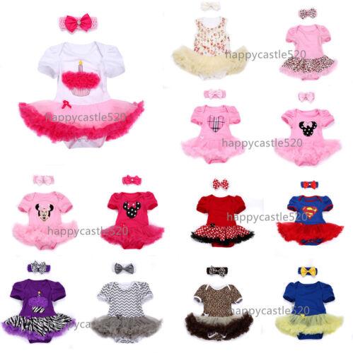 Newborn Baby Girl Kids Headband Jumpsuit Party Dress Tutu Clothes 0 3 6 9 Months
