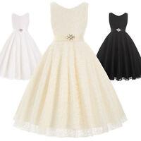 Flower Girls' Communion Party Prom Princess Dress Bridesmaid Wedding Girl Skirt