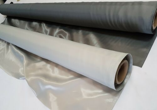 SILVER /& IVORY 4oz 160cm wide PEARLY SATIN FABRIC UPHOLSTERY CURTAINS