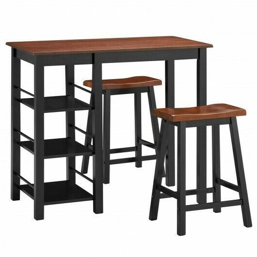 3 Piece Counter Height Dining Table Set, Bar Height Table With Storage