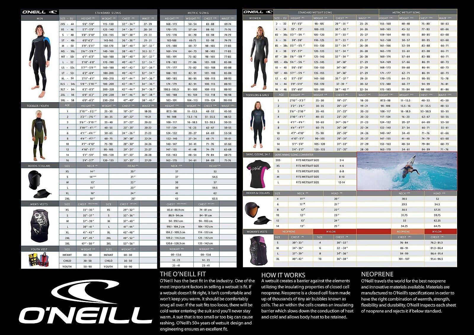 O'Neill Originale Stile  5011 Uomo 3 3 3 2mm Cerniera Torace Muta Intera 1ff322