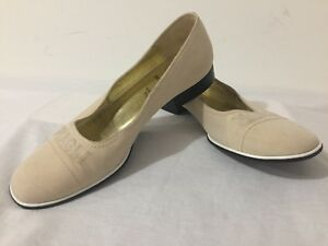 Bruno-Magli-Flats-Low-Heels-Beige-Fabric-Over-Leather-Size-7B