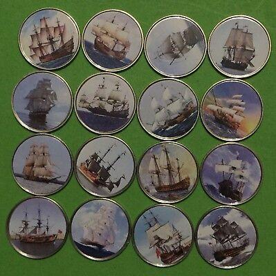 Somalia set of 16 coins Ships Sailboats colorized souvenir set 2014