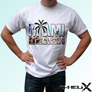 Image Is Loading Miami Beach White T Shirt Top Holiday Design