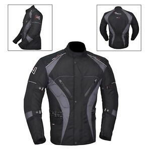 Grey-Black-Men-039-s-Motorcycle-Motorbike-Jacket-Waterproof-Textile-CE-Armoured