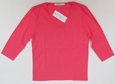 Ladies pink top Emreco Classic 3/4 sleeve V neck UK womens size 14 BNWT New