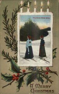 Christmas-Women-Snowshoeing-Snowshoes-c1910-Postcard