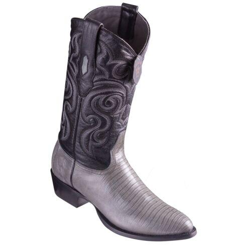 LOS ALTOS MEN GRAY GENUINE TEJU LIZARD ROUND TOE WESTERN COWBOY BOOT 650709 D
