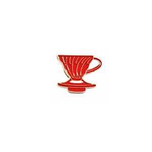 New Red White Barista Coffee Geek V60 Dripper Pour Over Cone Pin Brooch Badge
