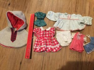 DOLL-CLOTHES-LOT-Vtg-Old-Handmade-Girl-Scout-Uniform-7-pieces