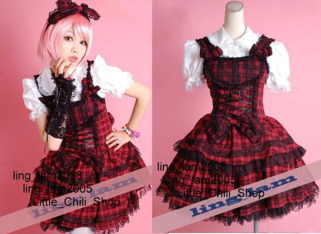 Dolly Sweet LOLITA QUENNY GOTHIC PUNK RED Plaid DRESS+Shirt+Headdress 3pcs S~L
