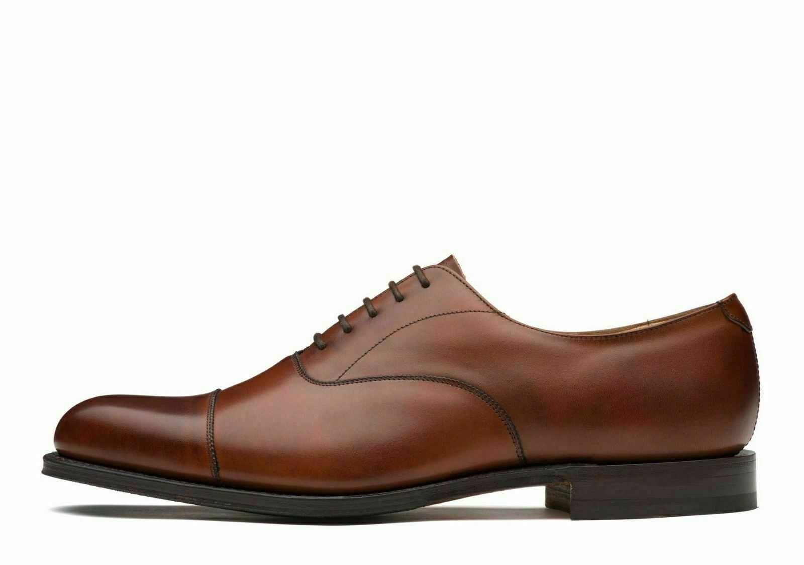 Handgemachte echte braune Leder Classic Toe Cap Schnürschuhe