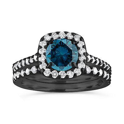 Vintage Enhanced Blue Diamond Engagement Ring Set 14K Black Gold 1.87 Carat