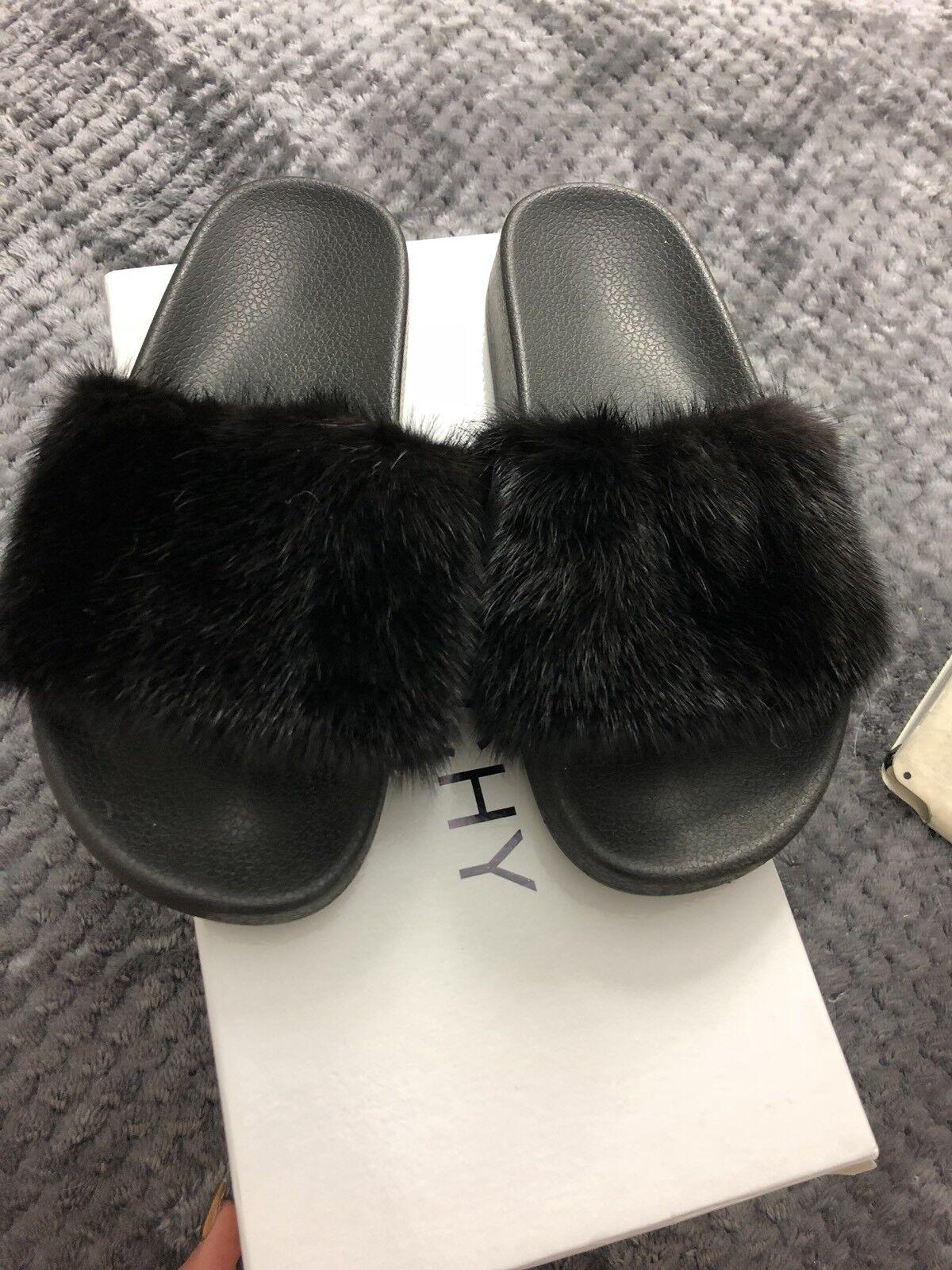 Givenchy Black Mink Mink Mink Fur Flat Slide Sandals Size 37  NO OFFERS b76599