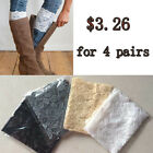 4 pairs Women's Stretch Lace Boot Cuffs Flower Leg Warmers Trim Toppers Socks